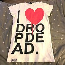 Drop Dead Clothing I ❤️ HEART DROP DEAD T Shirt Crew Neck Death White ��