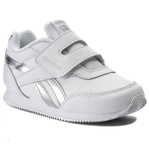 White Silver Reebok Infant Royal Classic Jogger Trainers Children Unisex Shoes