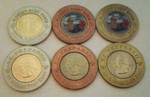 Set 3peseta BOYSCOUT Gold Color Encased Anillado PUERTO RICO Lucky Penny Quarter