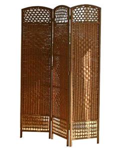 Biombo japon s de madera mimbre marr n claro 3 hojas dimensiones 170 x 123 cm ebay - Biombos de mimbre ...