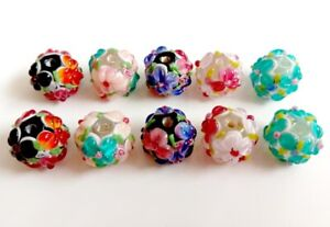 10pcs-exquisite-handmade-Lampwork-glass-beads-assorted-color-for-earrings-make