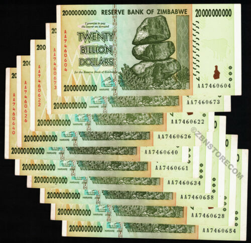 10 x 20 Billion Zimbabwe Dollars Bank Notes AA Prefix 2008 Series Currency 10PCS