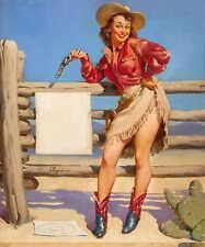 'BEAT THAT' 1953 GIL ELVGREN VINTAGE PIN UP GIRL WESTERN POSTER PRINT 24x20