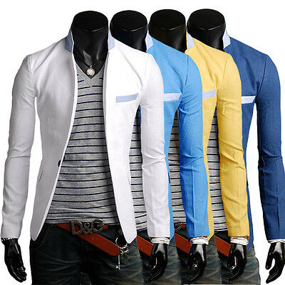 New Korean Fashion Mens Casual Slim One Button Suit Jacket Coat Blazers 4-Color