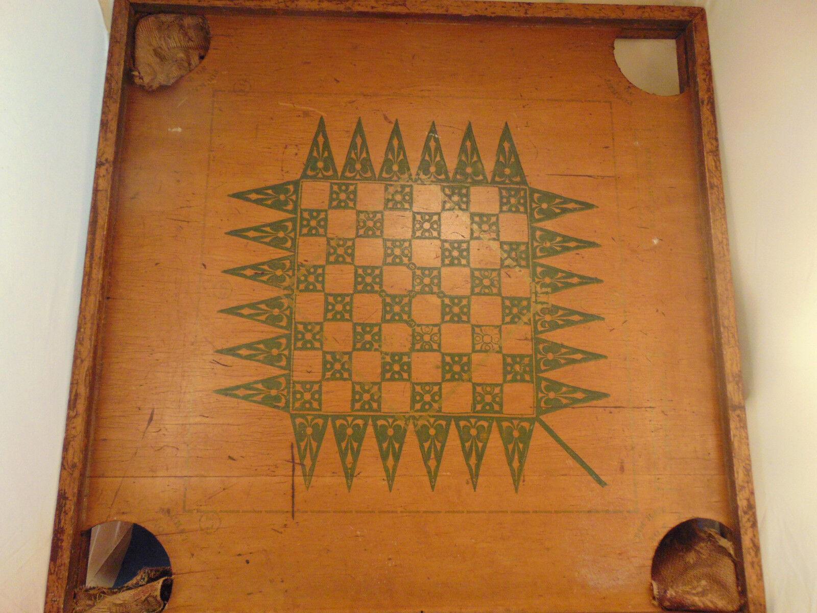 Placa De Madera Antiguo Mesa 29  bolsillos Cuadrado Ajedrez Damas primitivo Arte Antiguo