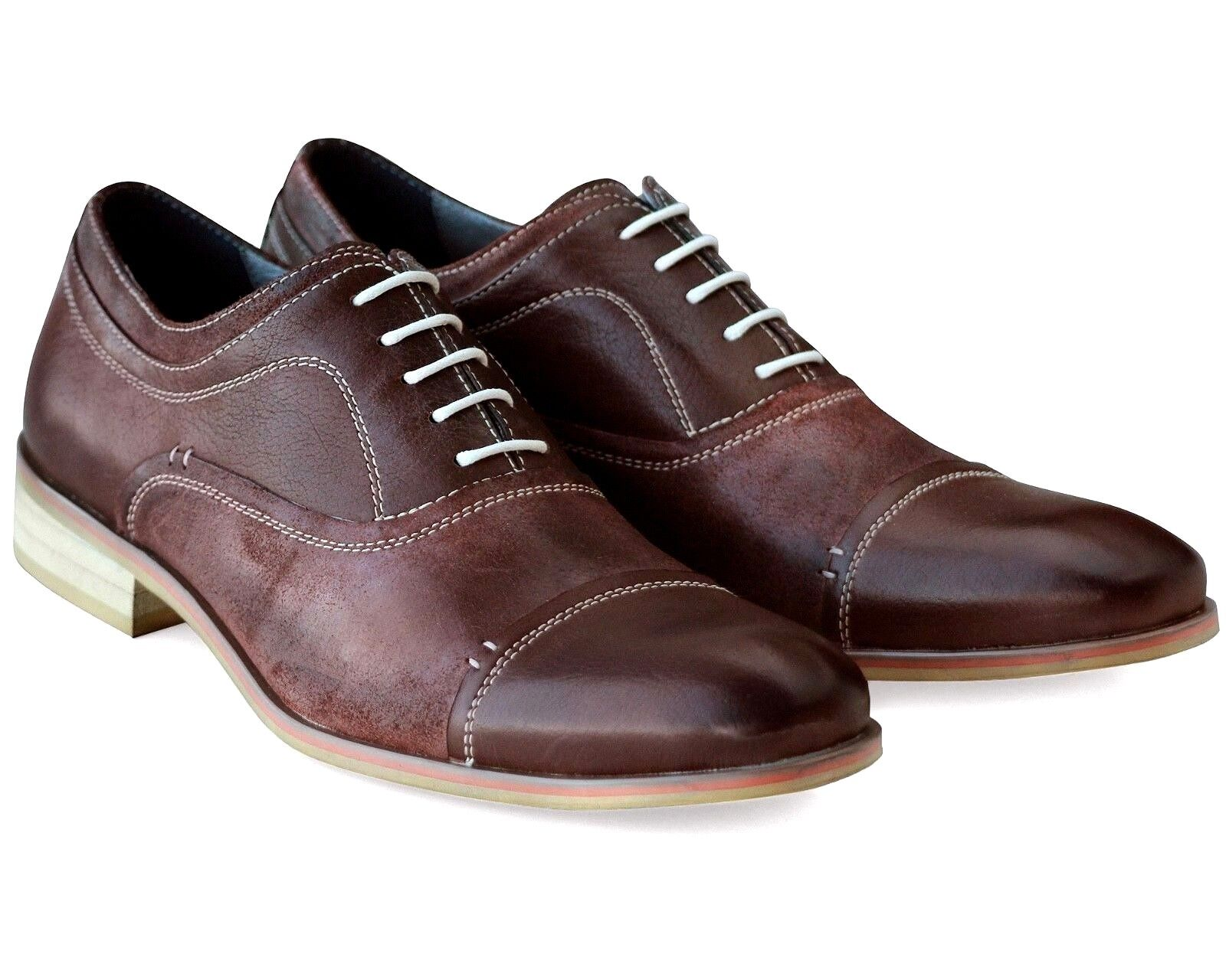 *102 UK 8 NEW MENS BROWN REAL LEATHER CASUAL SHOES COMFORT LACE UP WORK EU 42