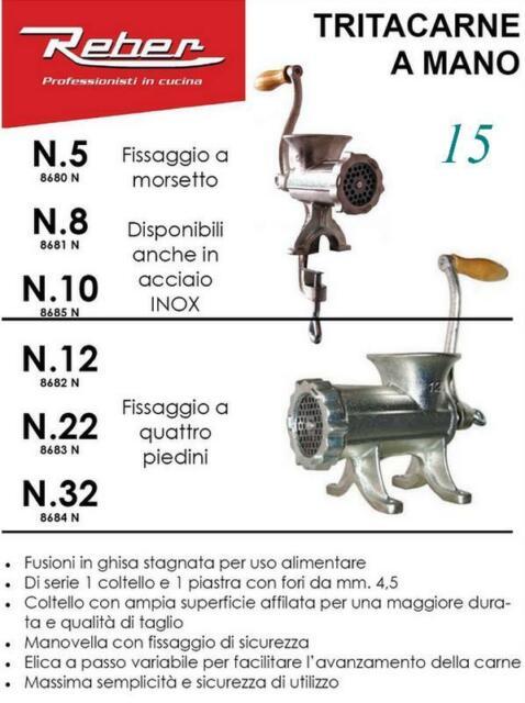 REBER 8691N TRITACARNE TRITA CARNE MANUALE N.8 ACCIAIO INOX PROFESSIONALE
