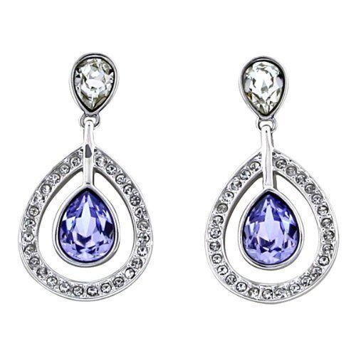 Swarovski Crystal Mila Provence Lavender Dangle Pierced Earring Pair 1126761 NIB