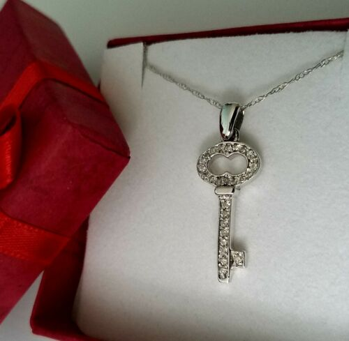 Diamond Key Charm Pendant for Necklace 14K Solid White Gold 0.35 ct Free Chain