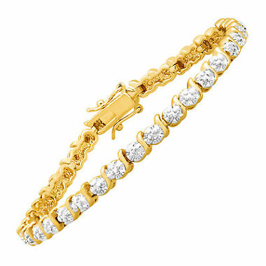 Tennis Bracelet with Diamonds in 14K Gold-Plated Brass