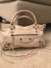 *Authentic BALENCIAGA Ivory White lambskin Classic First 2way bag w/Mirror Strap