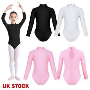 UK-Kid-Girls-Long-Sleeve-Ballet-Dance-Bodysuit-Gymnastics-Leotard-Sports-Unitard