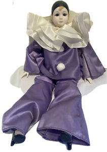 "Russ Berrie and Co. Pierrot Clown Porcelain Doll #1652 Purple Vintage 19"""