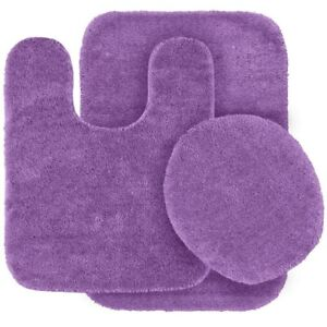 Lilac Colors Banded Bathroom Set Bath Mat Countour Rug Lid