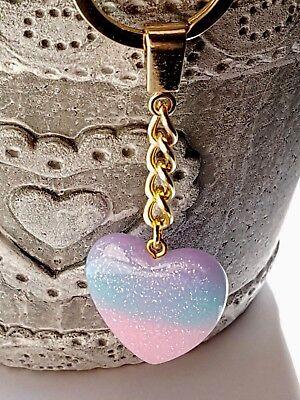 Heart Keyring Pink /& Blue Glitter Gold Chain UK seller Brand New