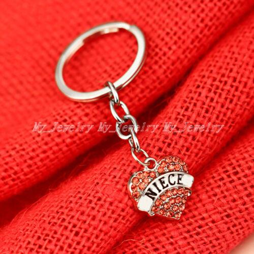 Family Mom Sister Dad Crystal Heart Pendant Keyring Keychain Key Chain Gift Hot