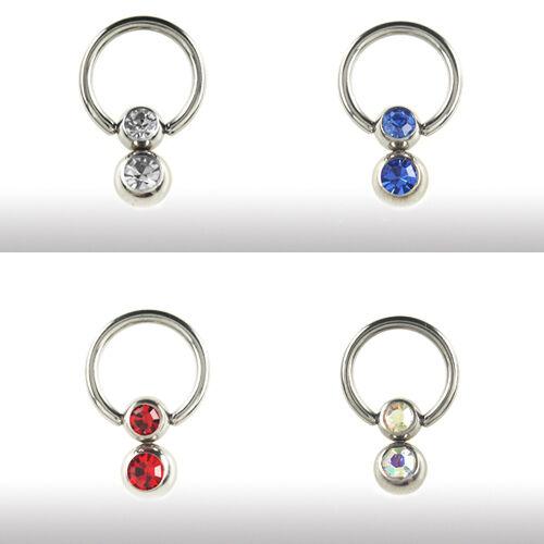 Intim piercing joyas oreja pecho clítoris anillo con bolas de cristal 5+6mm