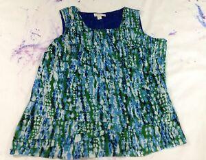 Coldwater-Creek-Blouses-SzXL-16-Womens-Blue-Sleveeless