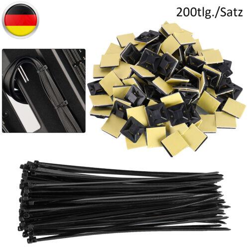 100 Stück Kabelbinder Sortiment Schwarz Set 200mm X 2,5mm Befestigungsclips