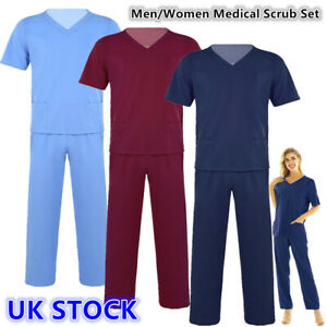 UK Unisex Medical Doctor Nursing Uniform Hospital Scrub Top Long Pants #S-XXXL