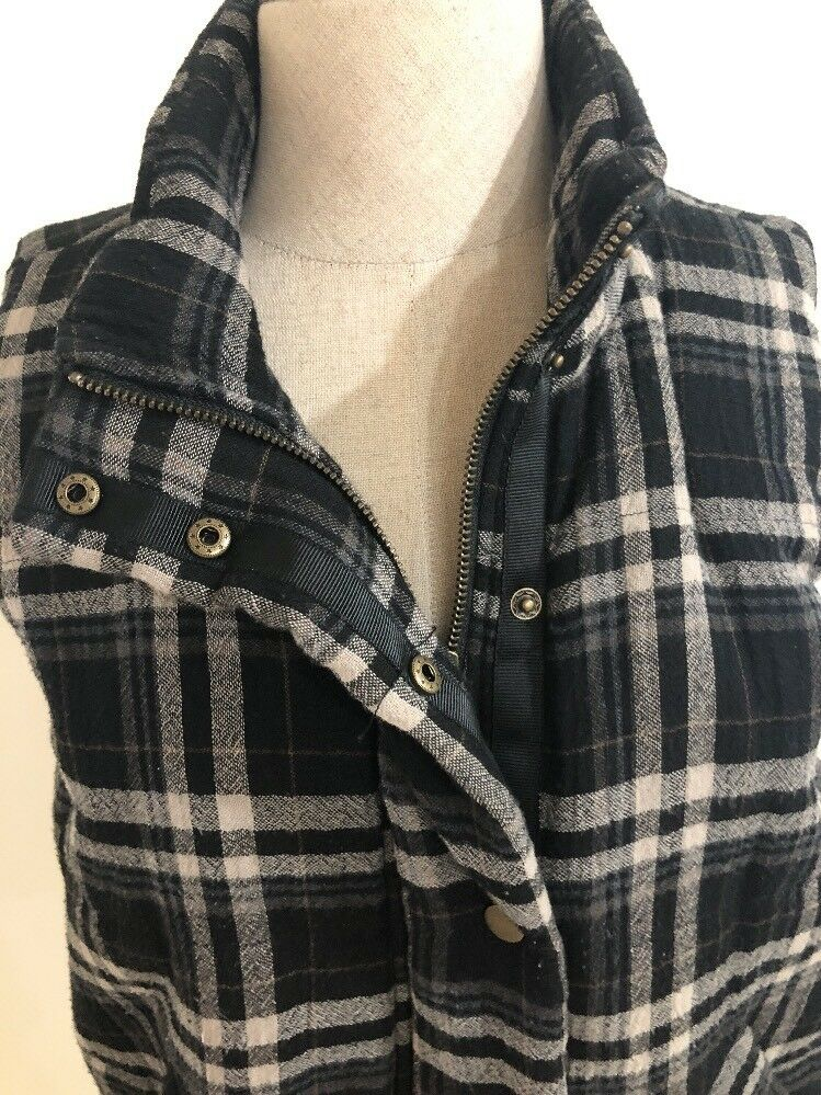 Anthropologie Hei Hei Plaid Padded Padded Padded Zip Up Snap Vest In Size M Petite, Org  250 ee1282