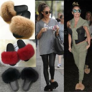 Women-039-s-Real-Fur-Flat-Shoes-Fluffy-Flip-Flops-Slippers-Sliders-Sandals-Xmas-Gift