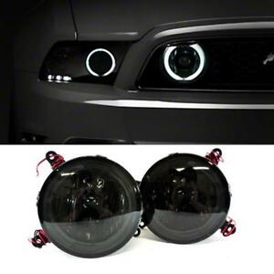 For 2005-2009 Ford Mustang GT Hood Grille Smoke Halo Fog Lights Lamp Pair+Switch