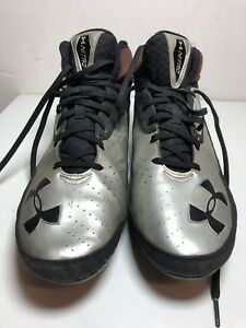 4cbc7e00a626 Men's Under Armour Comp Fit High Top Football Cleats Brown/Silver ...