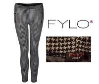 Fylo Womens Fab Legs Black Gray Women's Houndstooth Jacquard Leggings Pants