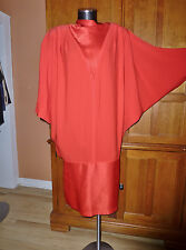 DAYMOR Couture Vtg 80s AVANT Garde HUGE Batwing RED Cocoon Cocktail DRESS 12