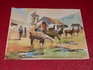 Peru-Bonita-Acuarela-Original-Firmada-Anos-1980-Lamas-Cusco
