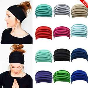 Femmes-elastique-extensible-Large-Bandeau-Hairband-Running-YOGA-Turban-Soft-Head-Wrap