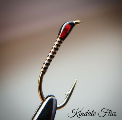 Set of 3 Holo Red Natural Quill Buzzers size 10 Fly Fishing Straight Hook