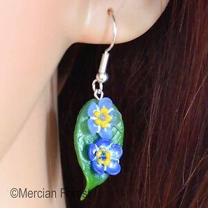 e2ea15788 Forget Me Not Hook Earrings, Handmade Polymer Clay, Summer Flower ...
