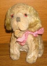 antik Stofftier Hund sitzend Samtschnauze Holzwolle 16cm Cockie