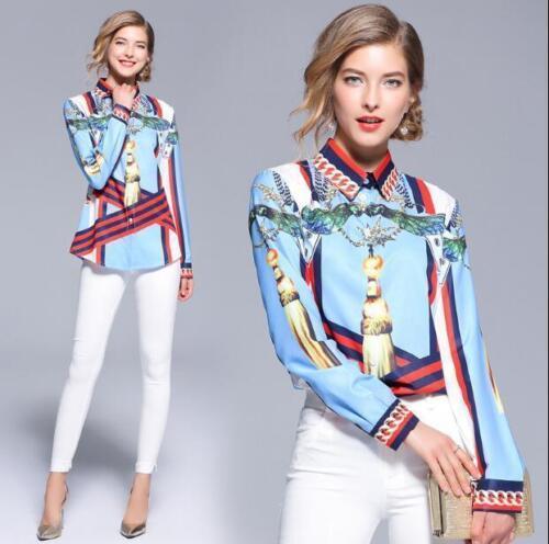 Nouveau Automne Imprimé-Shirt à Manches Longues Femmes Occident Fashion Slim Chemises #143