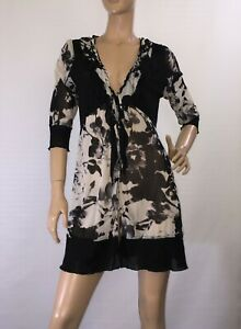 FAYE-BROWN-SIZE-12-SEMI-SHEER-FLORAL-DRESS