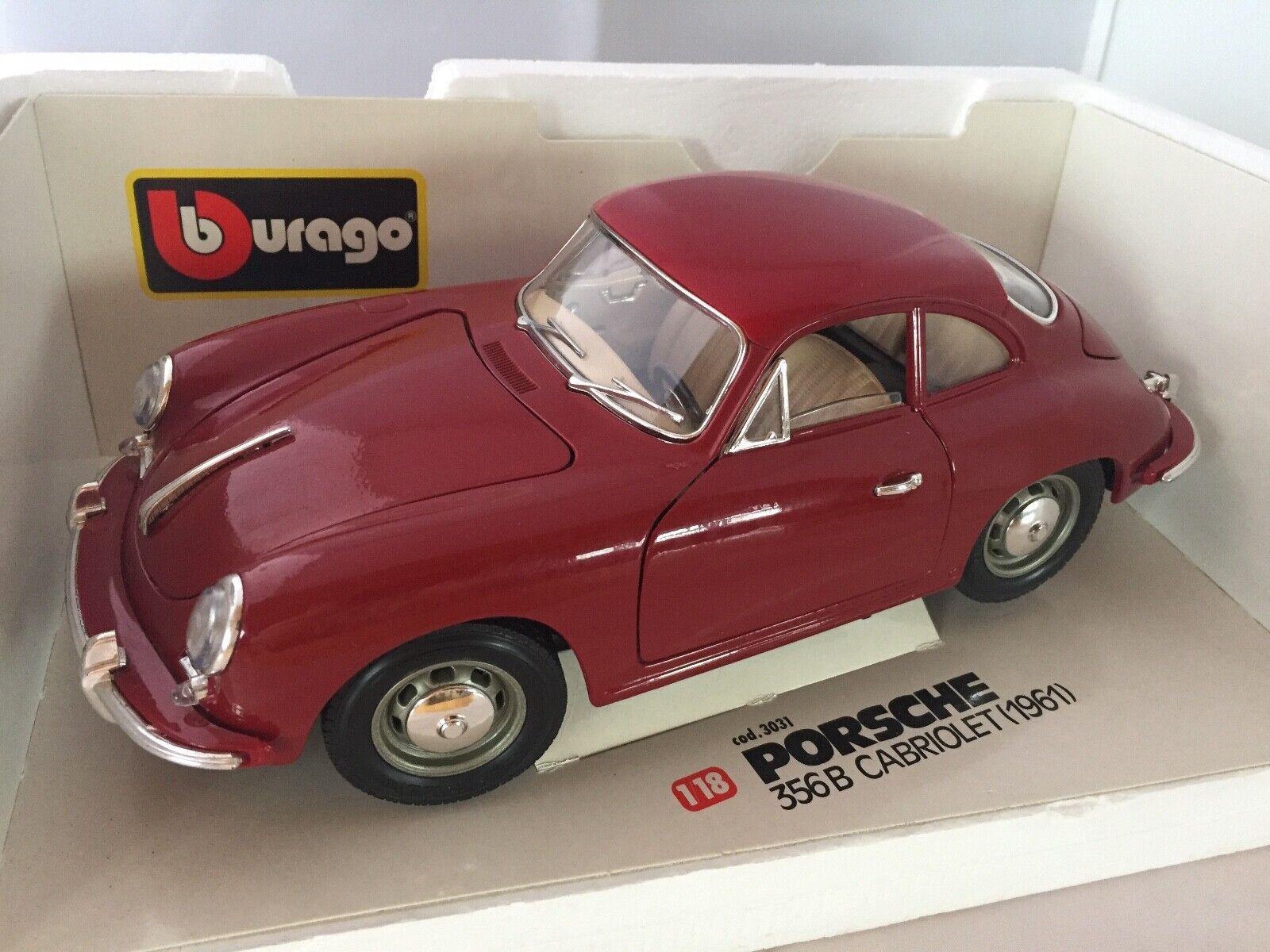 Burago Porsche 356B Cabriolet 1961 Die Cast Dark Red 1 18