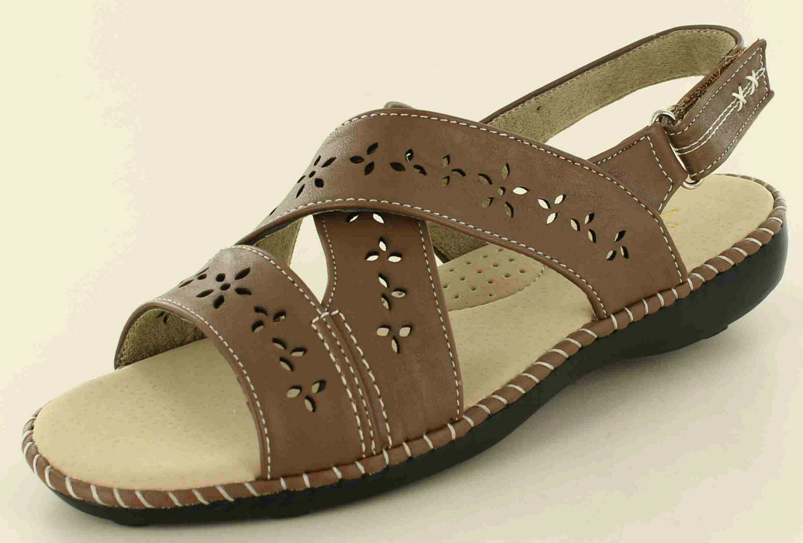New Touch Ladies/Womens Dr Keller Mary Touch New Fastening Sandals Camel 7d7873