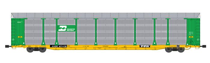 USA Trains G Scale BI LEVEL AUTO CARRIER R17180 Burlington Northern green yellow