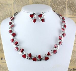 Hot-Red-Garnet-Ruby-Topaz-18K-Silver-Gold-Plated-Necklace-Earrings-Set