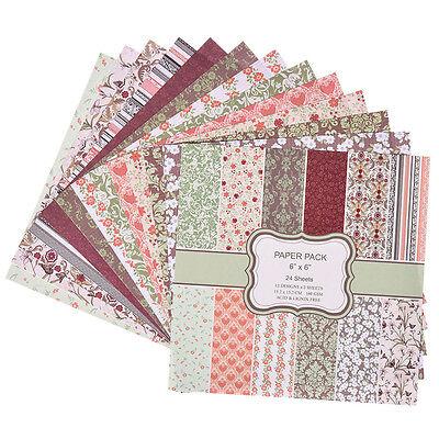 24 Sheets Set Floral Flower Paper Crafts Scrapbooking Card Making DIY Origami