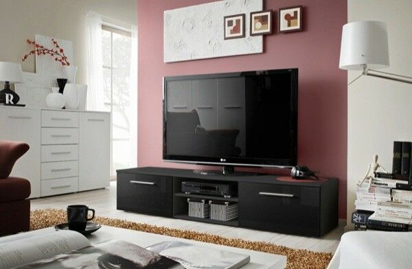 Soto 7 - black tv stand with storage / living room console tv stand / tv unit