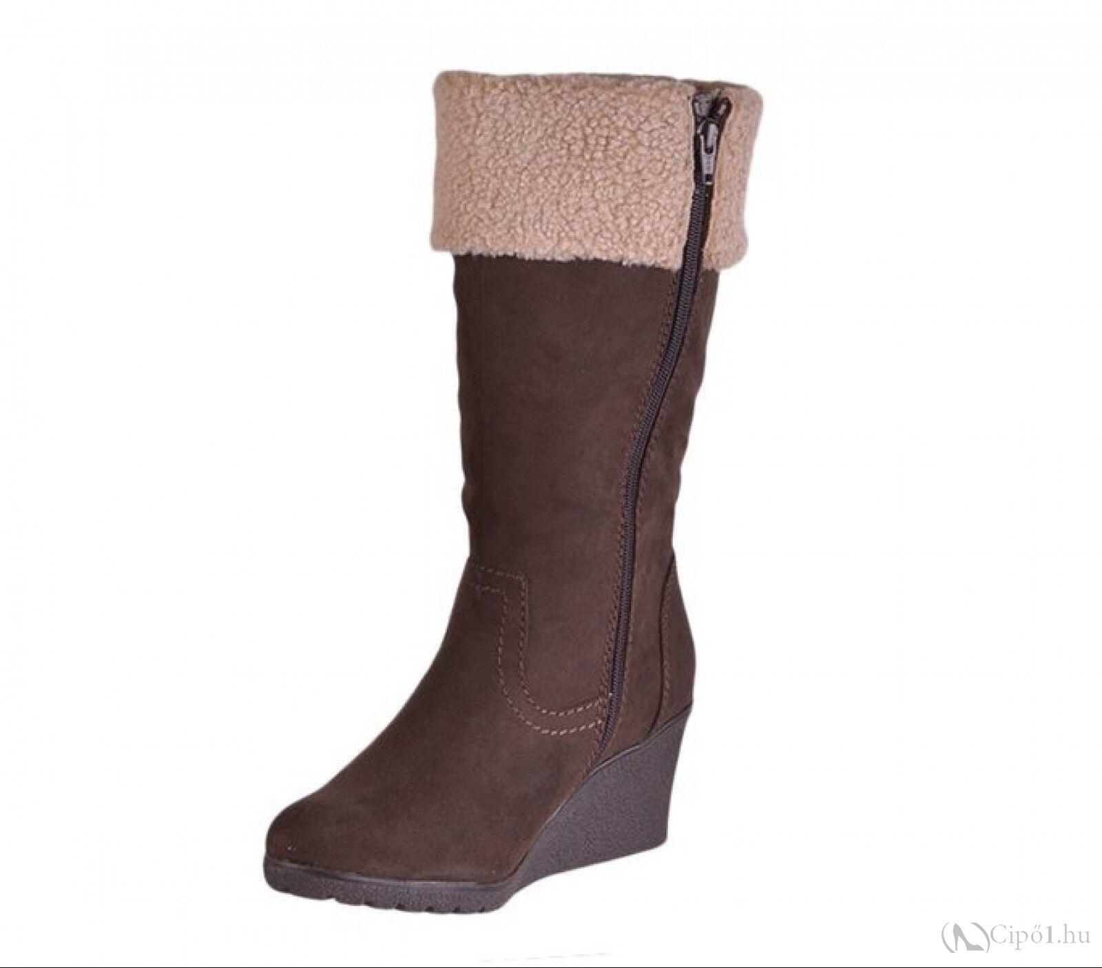 Softline Brown Ladies Womens Wedge Heel Mid Calf Warm Boots Size 5 6 7 7.5 8