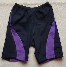 ACCLAIM Cotton Lycra Mens Ladies Cycle Style Fitness Shorts Black Purple Small