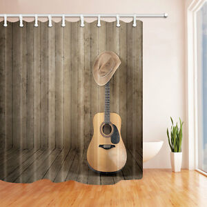 Violin And Western Cowboy Shower Curtain Set Wooden Board Home Decor 71inch Long