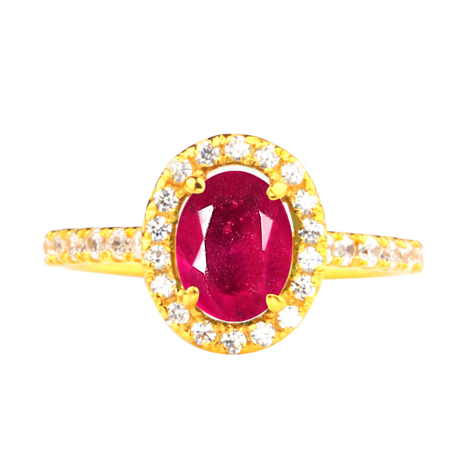 1.65 Carat 14KT Yellow gold Natural Red Ruby EGL Certified Diamond Ring
