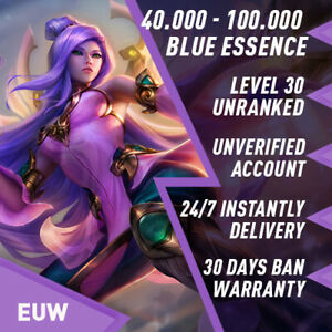 EUW-League-of-Legends-LOL-Account-Smurf-40-000-100-000-BE-Unranked-Level-30