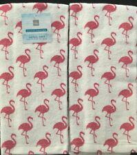 "Kitchen Towels Set of 2 dish hand 26/"" x 16.5/"" Let/'s Flamingle Flamingo"