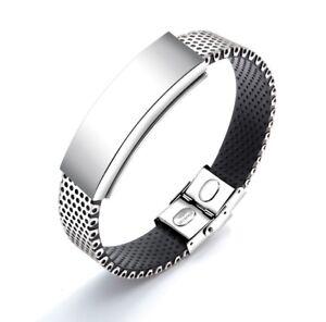 nouveau produit 30008 741f7 Détails sur Bracelet magnétique avec aimants en silicone et acier ajouré